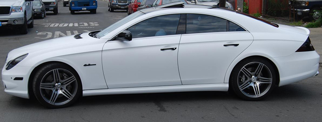 Satin White wraps on a Mercedes CLS 63 AMG in New York, NY